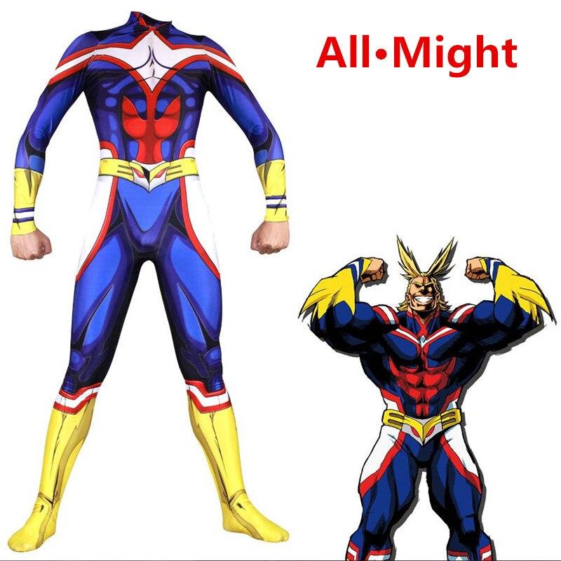 Anime My Hero Academia All Might Cosplay Costume Zentai Lycra Spandex Blue Full Body Superhero Bodysuit