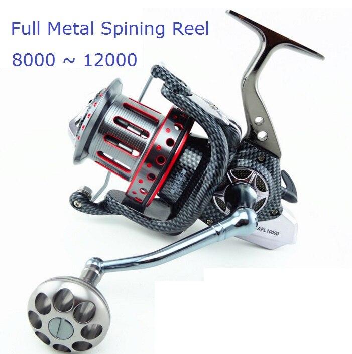 albacora carretel de fiacao de metal completo grande para pegar peixes grandes na agua como oceano