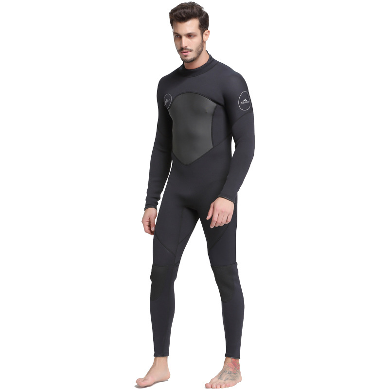 SBART 3mm Neoprene One-piece Snorkeling Suit waterproof Sunscreen Breathable Keep Warm Siamese Long Sleeved Wetsuit Diving Suit men s winter warm swimwear rashguard male camouflage one piece swimsuit 3mm neoprene wetsuit man snorkeling diving suit