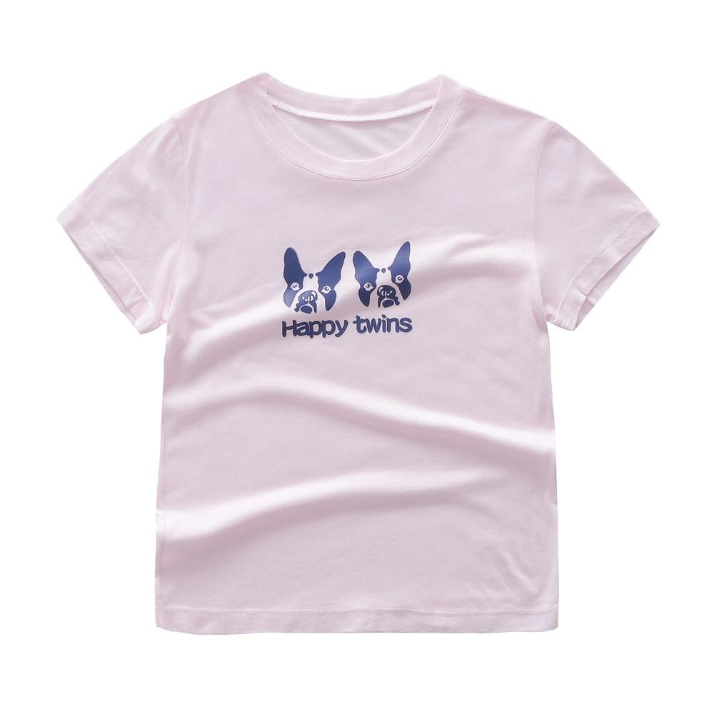 2018 Children T-Shirt Boy Summer Top Kids Clothes 3-8Y T Shirts Happy Twin Tee Shirt Baby Girl Summer Clothes 100% Cotton Tshirt