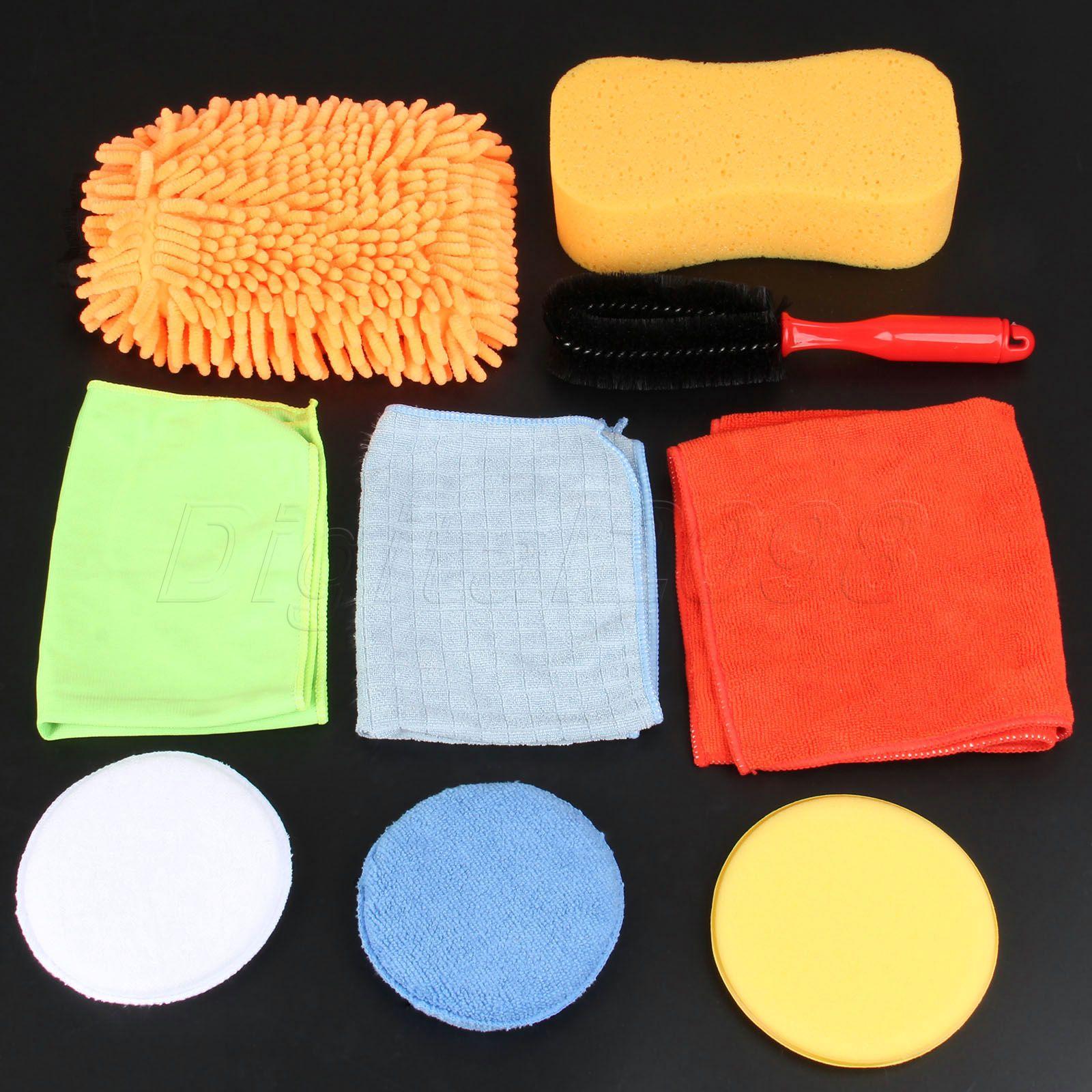 Yetaha Car Cleaning Washing Care Detailing Set Tools Tire Wheel Brush/Chenille Gloves/Towel/Sponge/ Waxing Pad Free Shipping