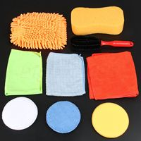 Yetaha Car Cleaning Washing Care Detailing Set Tools Tire Wheel Brush/Chenille Gloves/Towel/Sponge/ Waxing Pad Free Shipping