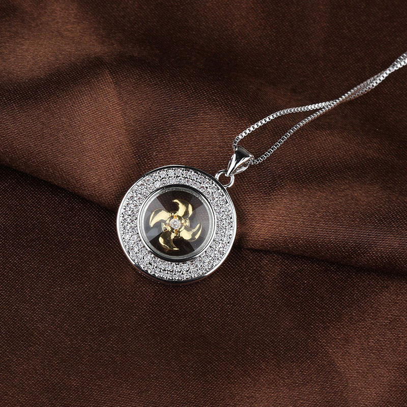 Fashion Windmill Necklace 2 colors CZ Zircon Crystal Necklace For Women Best Selling Round Pendants Jewelry Gift