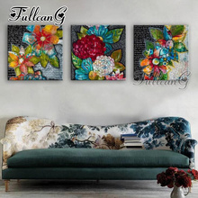 FULLCANG diy triptych diamond painting graffiti color flower 3 pieces 5d cross stitch diamant embroidery full drill G1322