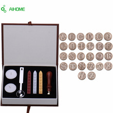 Personalized Harry Potter Hogwarts School Initial Letter Vintage Alphabet Wax Badge Seal Stamp w/Wax Kit Set Letter A-Z Optional(China (Mainland))