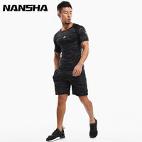 NANSHA New Fitness Men Camouflage Sets Bodybuilding Short Sleeve T Shirt Quick Dry Tracksuit Crossfit Tights