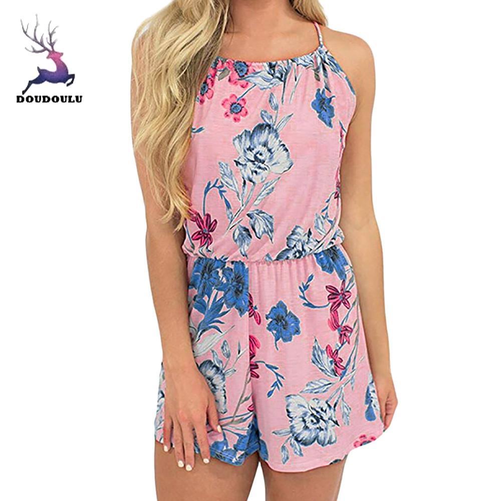 DOUDOULU Female Ladies Women Sleeveless Floral Print Bandage Shorts Romper Beach Jumpsuit women clothing Feminino #30