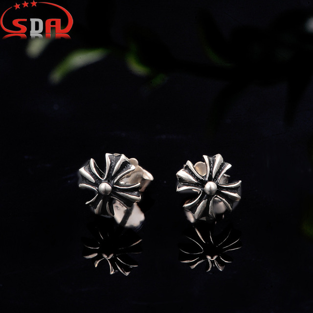 SDA Vintage black plated Silver 925 Stud Earrings for Men and Women Puck Rock Trendy Style  SE006