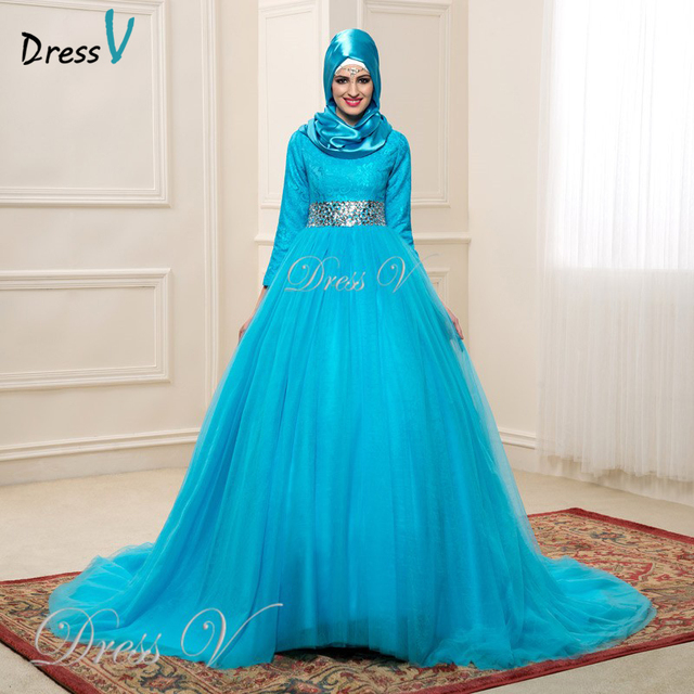 Ice Blue Color Long Sleeves Lace Muslim Wedding Dresses With Hijab 2017 New Ball Gown Crystal