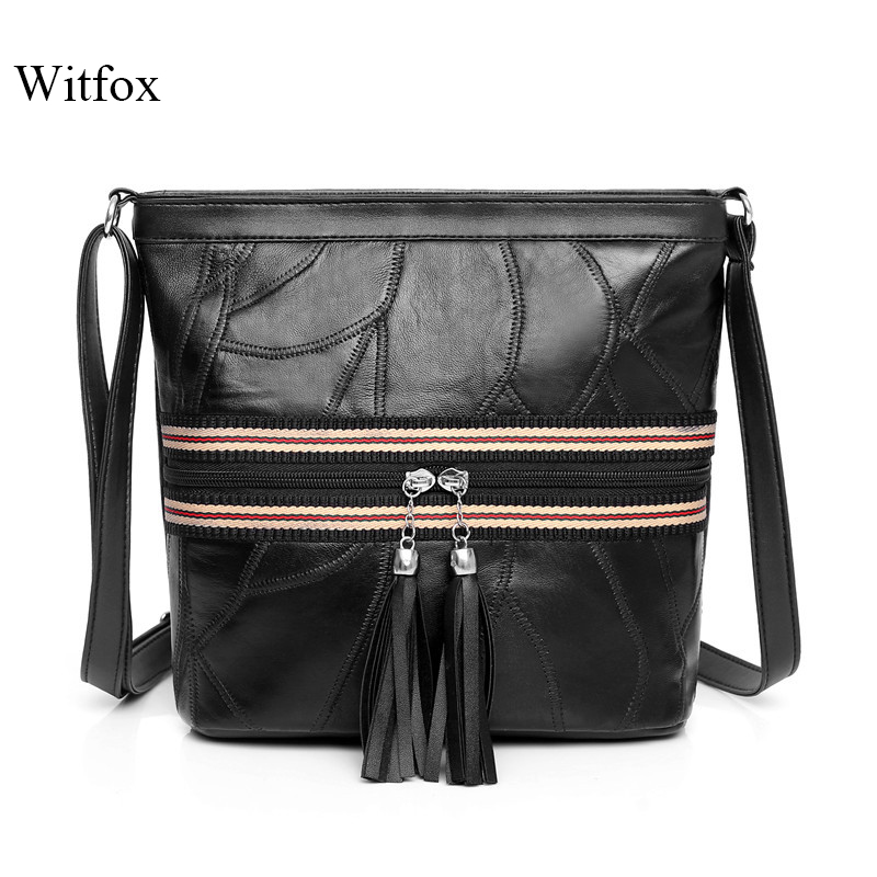 WITFOX Casual Stripe Shoulder Bag For Women Fashion Tassel Ladies Messenger Pack Black Street Wear Genuine Leather Soft Skin Bag