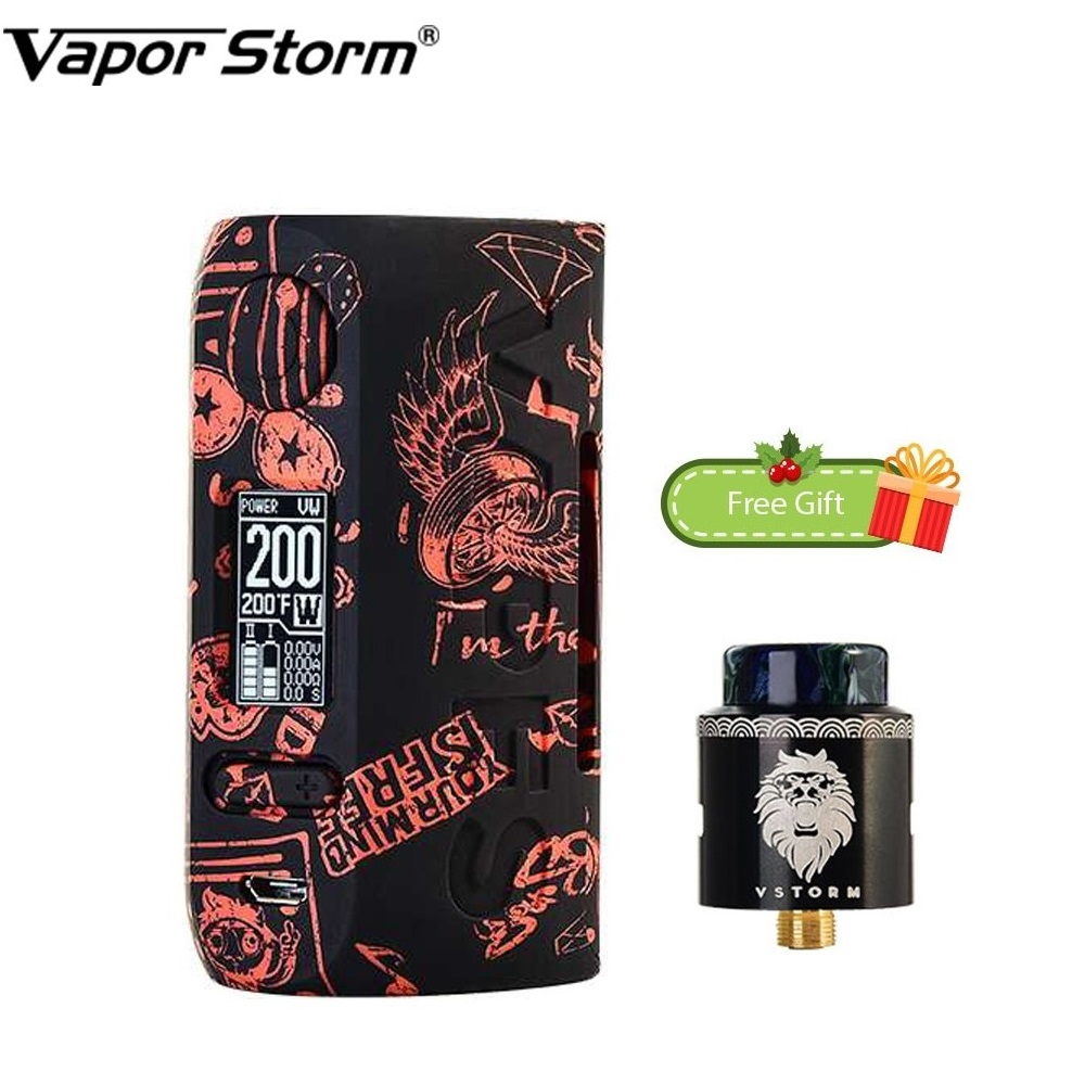 Free Gift 200W Vapor Storm Storm230 TC Box MOD with Lion RDA Vapor Storm Puma Power