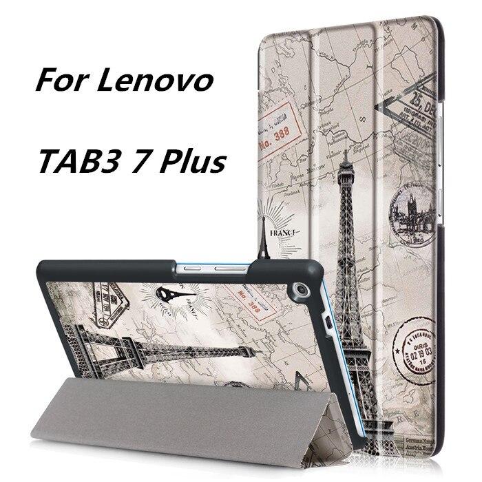 Print Cover Stand Case for Lenovo TAB3 Tab 3 7 Plus 7703 7703x TB-7703X TB-7703F 7 Inch Tablet + 2 Pcs Screen Protector чехлы для планшетов g case чехол g case executive для lenovo tab 3 plus 7 0 7703x 7703f