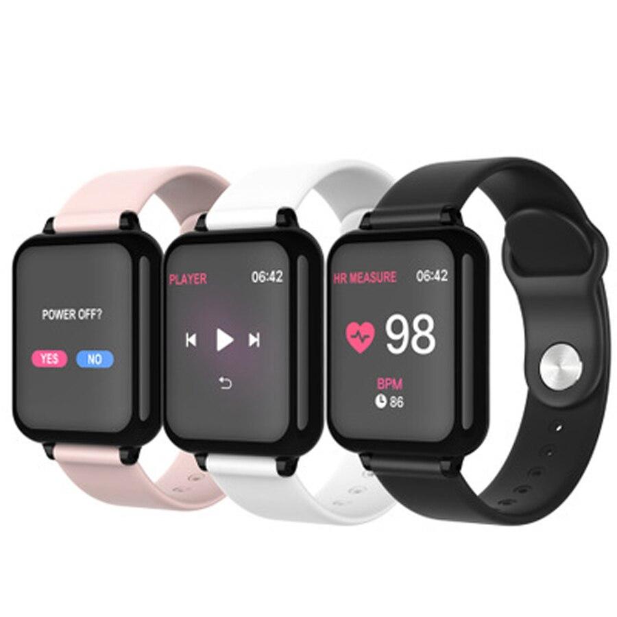 Bluetooth montre intelligente étanche PU bande numérique Sport montre moniteur de fréquence cardiaque pression artérielle écran coloré Bracelet intelligent