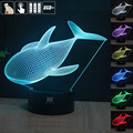 HY Whale 3D Remote LED Night Light Touch Table Desk Lamp 7 Color Change USB LED Charger Gift Multifunction Card