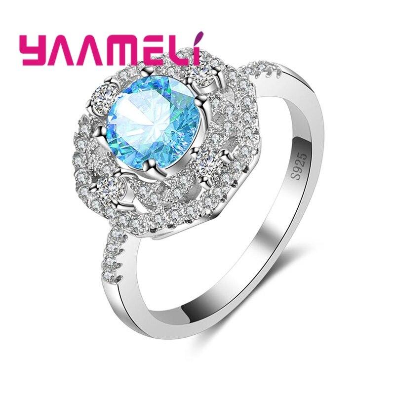 YAAMELI День Святого Валентина предложения 925 стерлингового серебра Вечная любовь палец Классический кольцо для Для женщин Свадебные украшени...