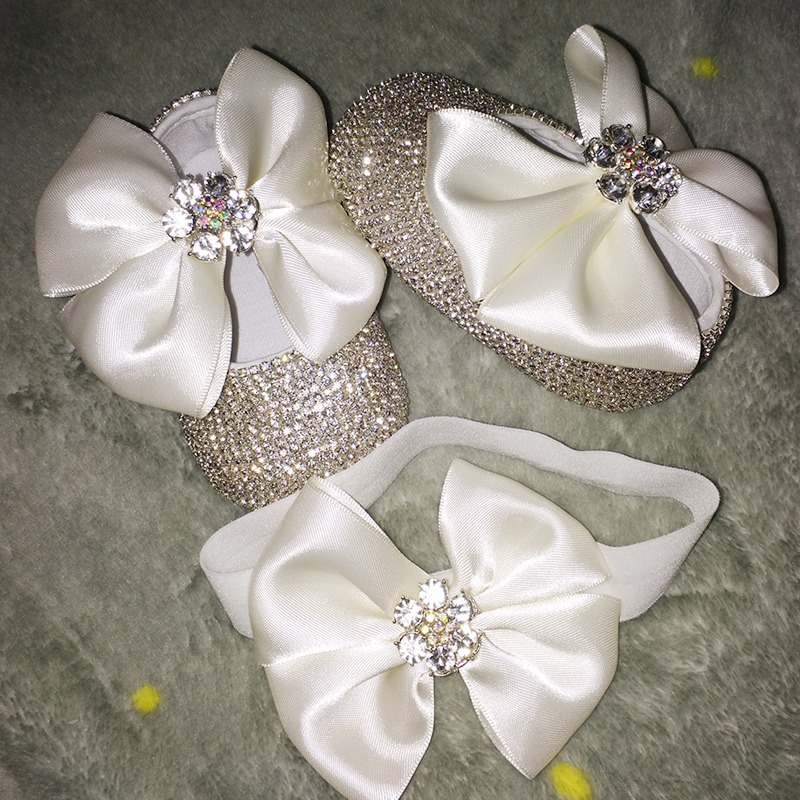 bowknot Custom Sparkle Bling crystals Rhinestones Baby girls shoes infant 0 1Y ribbon Princess shoes First Walkers hairband