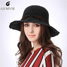 891247e57f2 GEMVIE Foldable Women Sunhat Solid Color Breathable Knitted Bucket Hat Lady  Elegant Fisher Cap Outdoor Wide