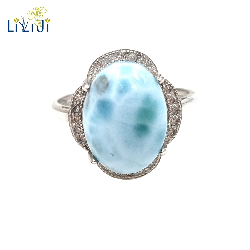 LiiJi Gemstone Natural Caribbean Blue Larimar 925 Sterling Silver Oval Shape Vintage Zircon Ring Resizable Both Men And Wome