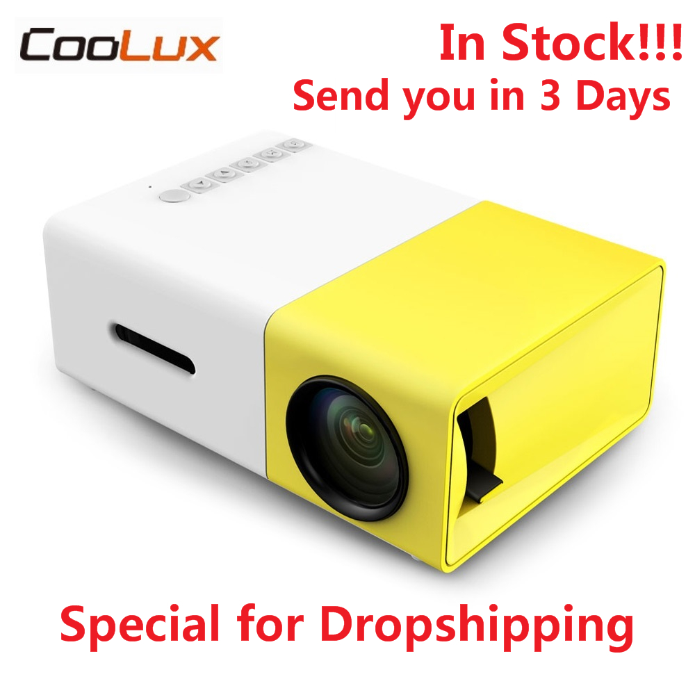 Em Estoque Coolux YG300 YG-300 Mini 400-600LM LCD LED Projetor Mini Projetor de Vídeo 1080 P 320x240 Pixels Melhor casa Proyector