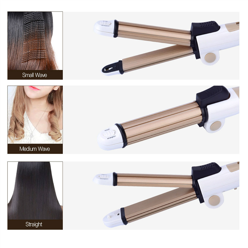 Portable 3 In 1 Hair Curling Iron Tourmaline Ceramic Hair Straightener Corrugated Iron Corn Plate Heated Roller Big Small Wave ckeyin 9 31mm ceramic curling iron hair waver wave machine magic spiral hair curler roller curling wand hair styler styling tool