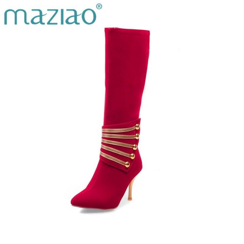 Negro De Para Moda Mujer La Alto Maziao Delgado Zapatos Y rojo Hasta Mujeres azul Cuero Rodilla Tacones Botas Caballero Nuevos Nobuck FxBZwZU