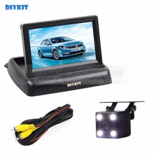 DIYKIT Wired 4.3inch Car Reversing Camera Kit Car Monitor LCD Display Security LED Night Vision Car Rear View Camera