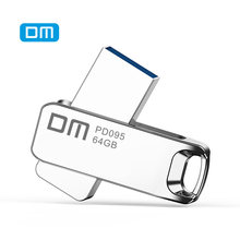 DM PD095 USB Flash sürücü 32GB tam Metal Pendrive mikro bellek sopa 64GB gerçek kapasite 16GB gümüş U disk