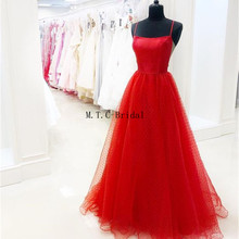 42b71ccf57a Charming Red Tulle Prom Dresses 2019 Strapless Spaghetti Strap A Line Floor  Length Long Formal Evening