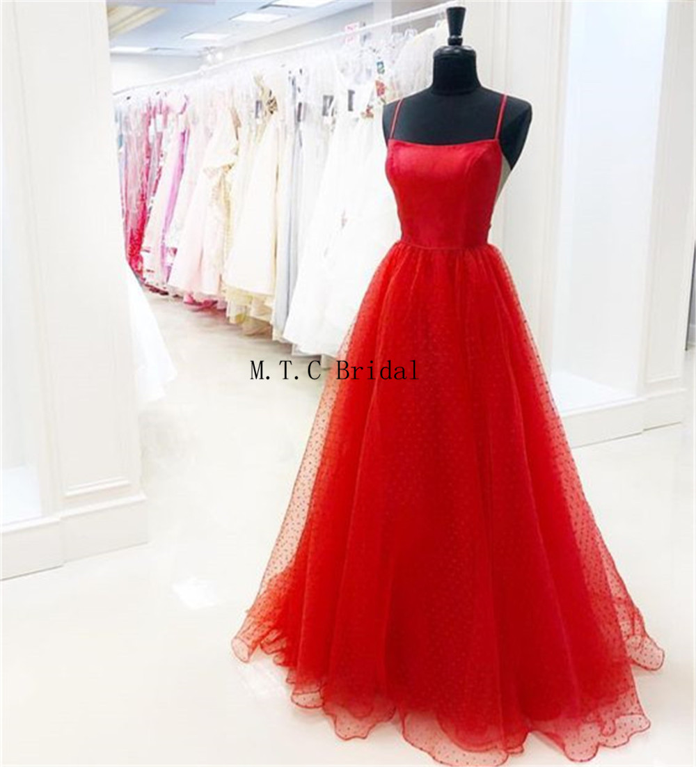 Charming Red Tulle   Prom     Dresses   2019 Strapless Spaghetti Strap A Line Floor Length Long Formal Evening Gown Cheap Robe De Soiree