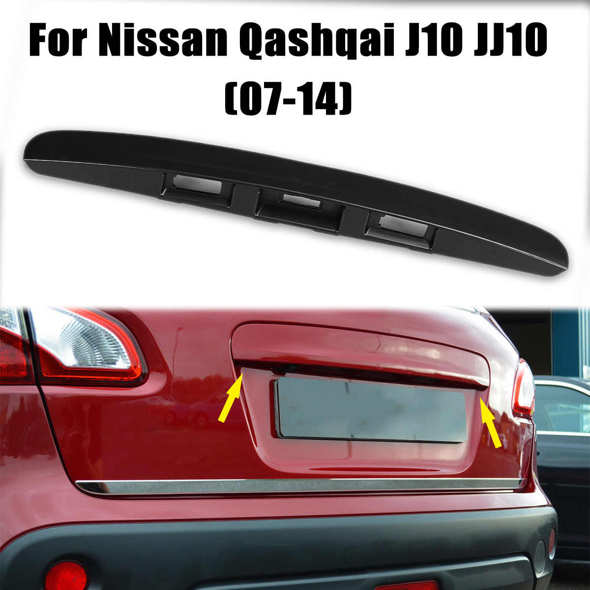 Primered Black Tailgate Boot Lid Handle without I-key&Camera Hole For Nissan Qashqai J10 2007-2014 Plastic Trim Cover
