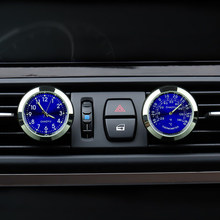 2 Pcs Luminova Quartz Car Clock Watch + Thermometer Ornaments Decorate On A/C Air Conditioning Vent Outlet Perfume