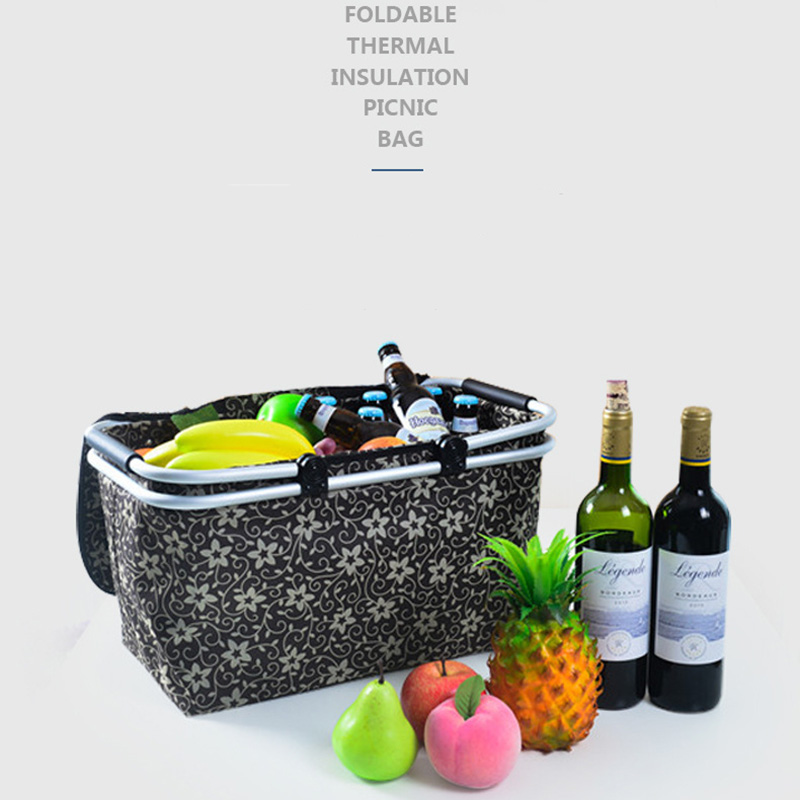 New quality fashion thermal bag cooler insulated Fruit bag Oxford cloth Thicker Aluminum film thermo food picnic bag with party