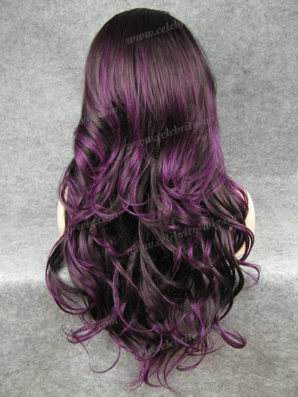N12 43700 Fashion Ombre Dark And Purple Color Long Slightly Wavy