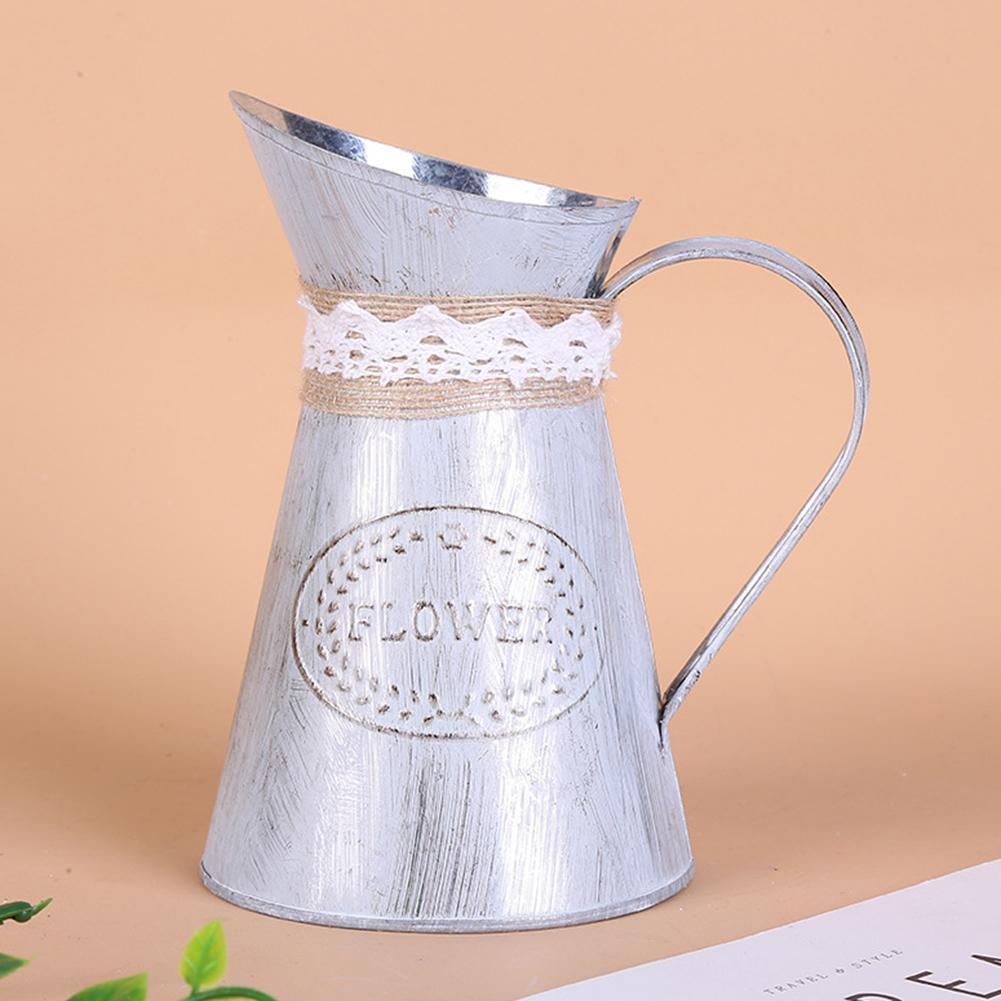 40# Beautifully Vintage Heart Iron Sheet Rustic Flower Jug Pot Bucket Wedding Home Hotel Party Decoration Flower Pot