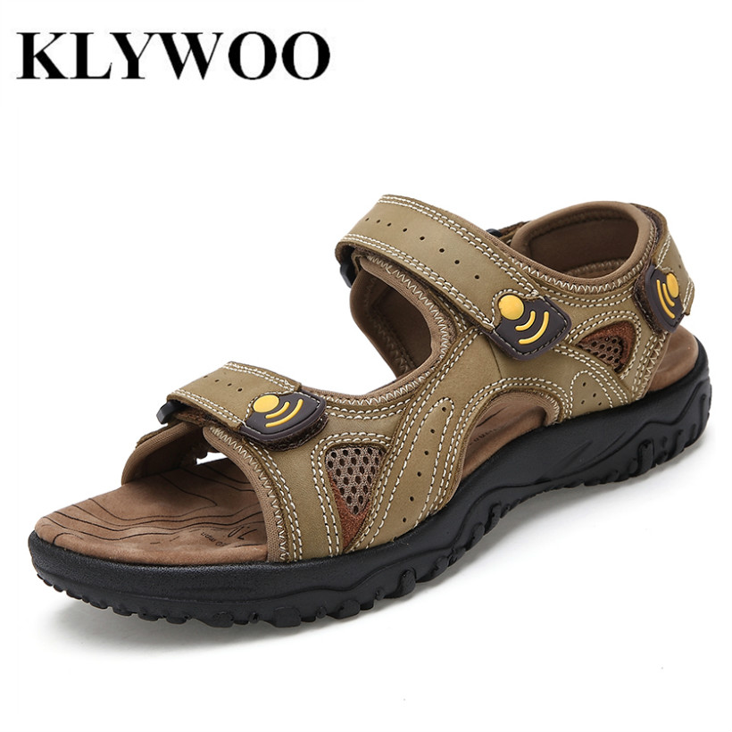 KLYWOO Brand Mens Sandals Genuine Leather Soft Sole New Fashion Men Casual Shoes Summer Slippers Breathable Men Beach Sandals