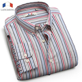 Langmeng 2016 New Arrival 100% Cotton Long Sleeve Casual Shirt Men Slim Fit Striped Dress Shirt Mens clothes Camisa Masculina