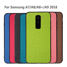 For Samsung Galaxy A8 2018 case back cover A8+ A8 Plus shockproof protective fabric silicone case for Samsung A9 A7 2018 case protective silicone case for samsung n7100 translucent purple