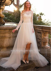 Image 2 - Tulle & Lace Bateau Neckline 2 In 1 Wedding Dress With Belt & Detachable Skirt Two Pieces Long Sleeves Bridal Dress