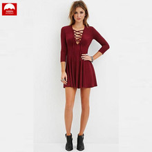 The New Sexy Cross Strap Large Swing Long Sleeve Dress Women Spring And Autumn Solid Color Wild Fashion Cotton V-Neck NZC-059