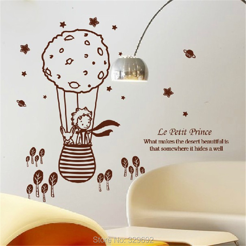 cute creative big size 112 5 x 98 cm for kids rooms little prince and the fox removable wall. Black Bedroom Furniture Sets. Home Design Ideas