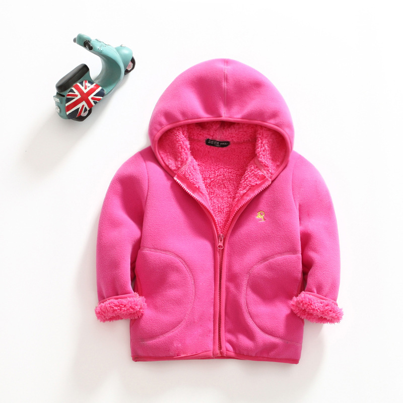 little girls boys warm coat hooded fleece jacket for winter baby girl boy thick fleece jackets kids clothes size 2 3 4 5 6 7 8Y 2017 new baby boys and girls winter warm long coat kid hooded jacket kid fashion cute cartoon thick down solid color winter coat