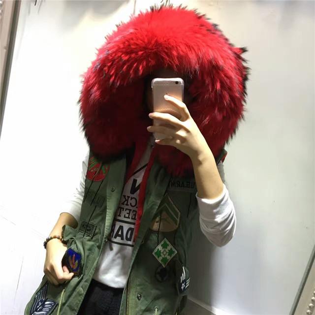 Diseños de parches de cuello de piel de mapache real chaleco de piel de invierno chaleco de algodón puro sin mangas outwear de piel en el interior