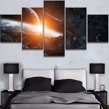 5 Piece Canvas Art Asteroid Impact Universe Cuadros Decoracion  Paintings on Wall for Home Decorations Decor