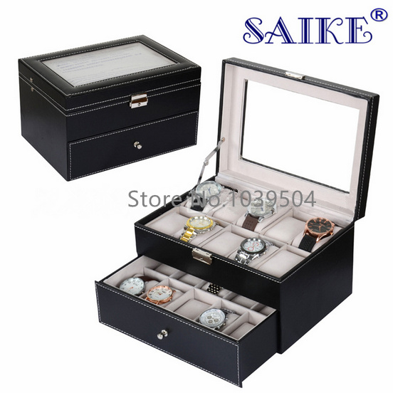 Free Shipping 20 Grids Black Leather Brand Watches Box Top Quanlity Watch Display Boxes New Rectangle Storage Boxes Case W141 2017 top pu leather watch case with window black 10 grids watch storage boxes brand watch display box watch gift box b038