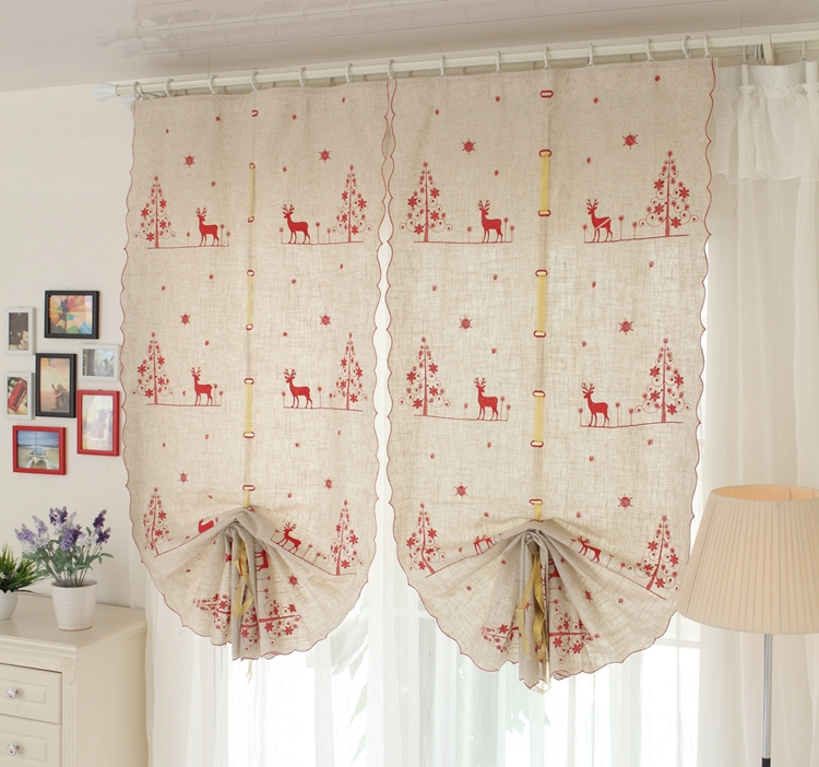 1pcsHigh quality European embroidery red deer christmas balloon cotton linen curtain home decoration living room window curtains
