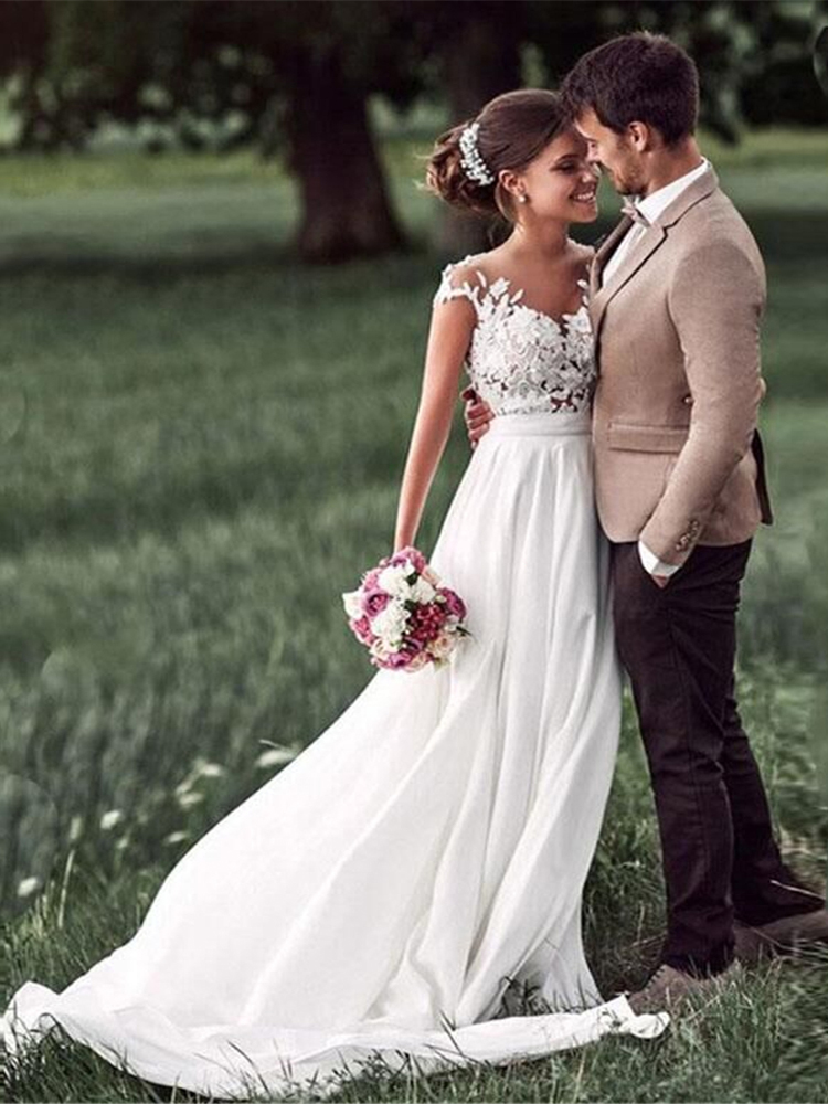 Sodigne Bride Dress Vestido-De-Noiva Boho Side-White Lace Cap-Sleeves Beach New Slit