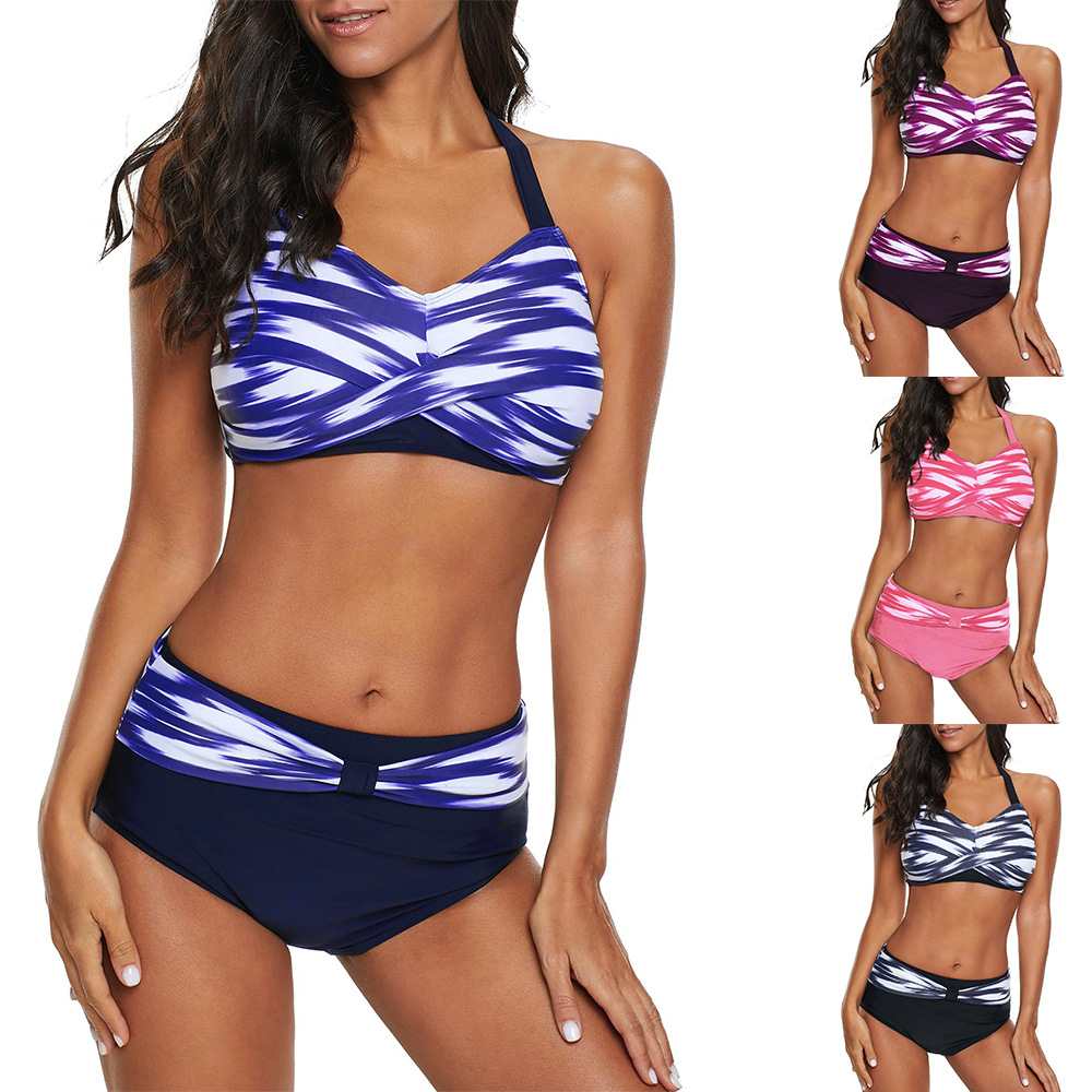 Tankini Sets With shorts <font><b>2018</b></font> Summer Women Two Pieces Swimwear Retro Print Bathing Suits <font><b>Bikini</b></font> <font><b>Push</b></font> <font><b>Up</b></font> Swimsuits Plus Size 5XL image