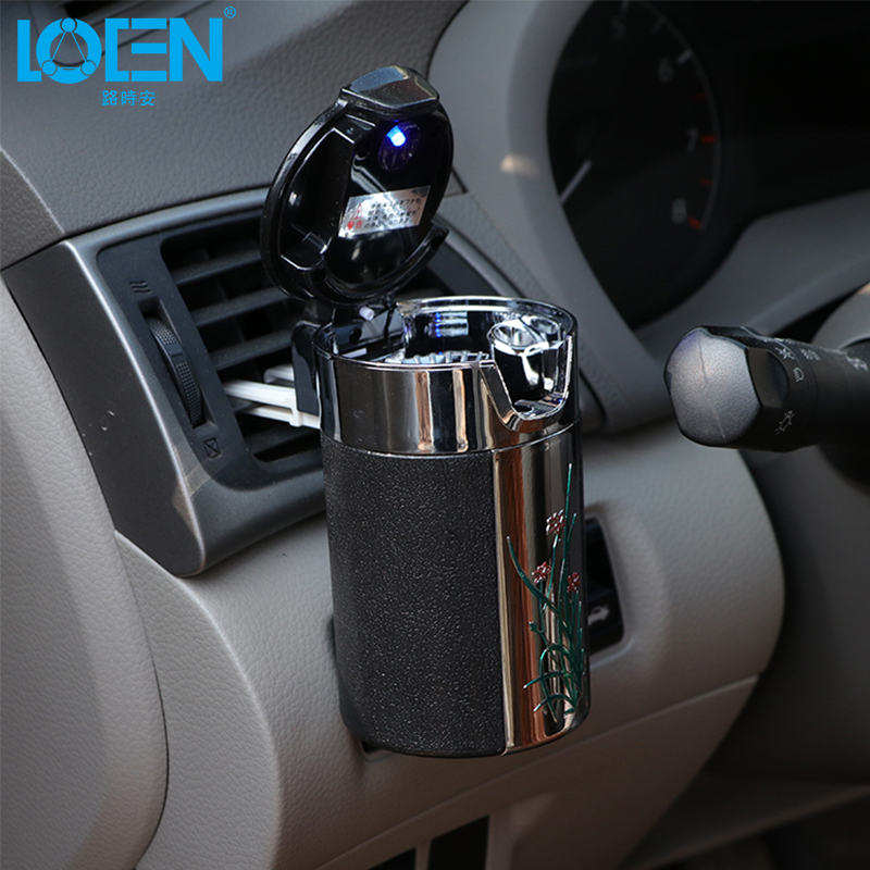 Special Design New Plum Blossom Pattern Car Cigarette Ashtray With Hooks Led Lights For Home Office