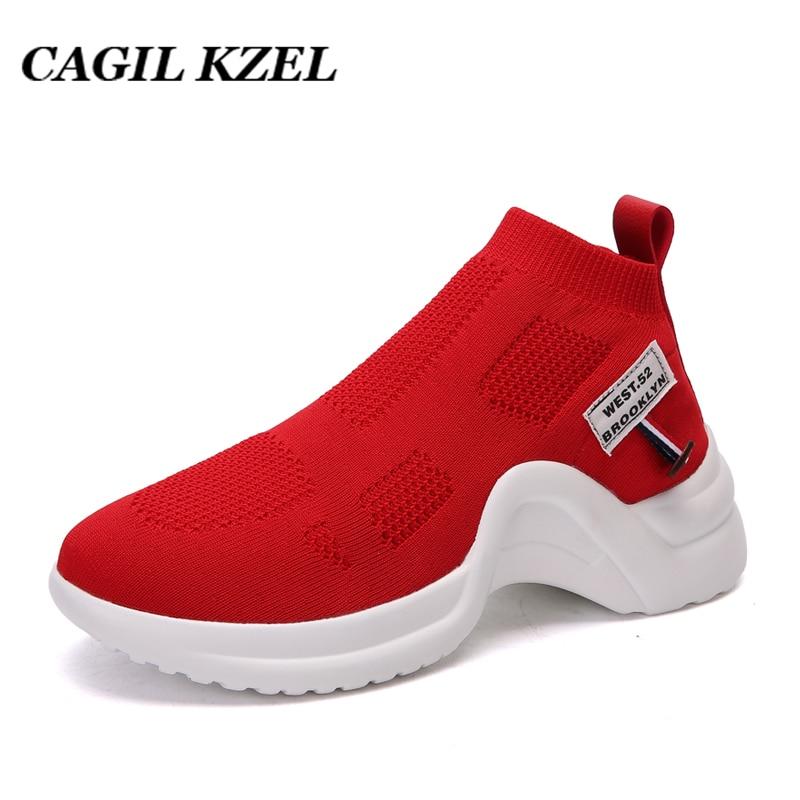 CAGILKZEL 2019 Spring Sneakers Women Shoes Breathable Sports Woman Shoes Fashion Socks Shoes Women Training Fitness Ladies Shoes