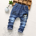 2017 Spring Fashion Denim Kids Jeans Baby Boy Trousers Autumn embroidery Cartoon Pattern Denim Jeans Children Pants 2-6Y